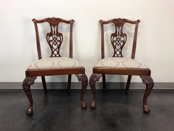 Magnificent Hickory Chair Chippendale Ball In Claw Mahogany Dining Side Chairs Pair 2 Forskolin Free Trial Chair Design Images Forskolin Free Trialorg