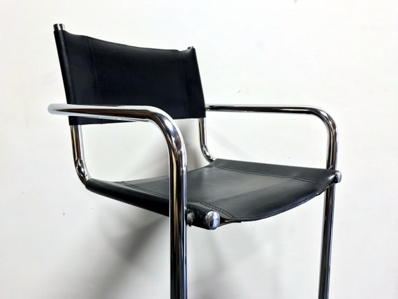 Awe Inspiring Mart Stam Chrome Black Leather Bar Stools Made In Italy Pdpeps Interior Chair Design Pdpepsorg