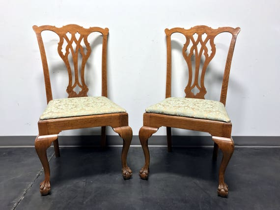 Awe Inspiring Vintage Quartersawn Tiger Oak Chippendale Ball In Claw Dining Accent Side Chairs Pair Short Links Chair Design For Home Short Linksinfo