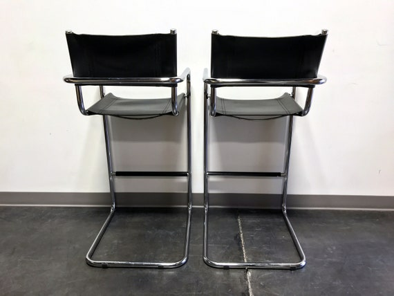 Marvelous Mart Stam Chrome Black Leather Bar Stools Made In Italy Pdpeps Interior Chair Design Pdpepsorg