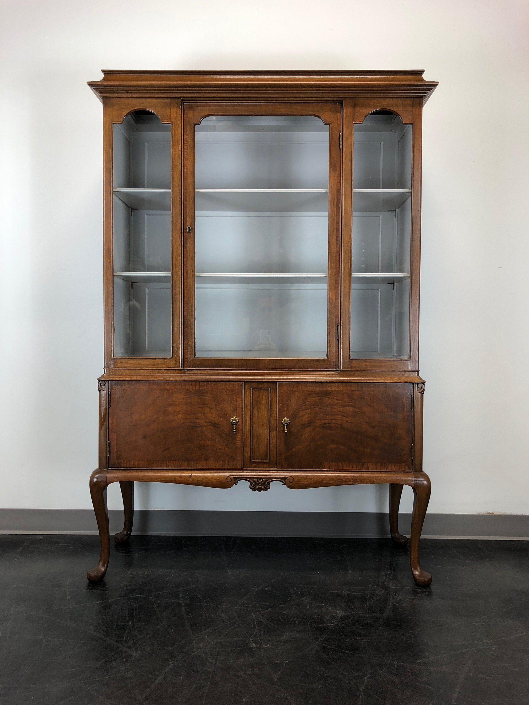 Vintage Walnut Queen Anne Petite China Cabinet W Painted Interior