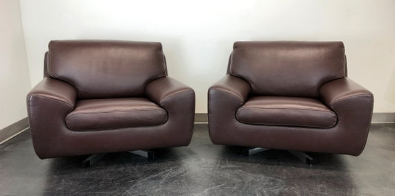 Swell Roche Bobois Modern Swivel Chairs In Chocolate Brown Leather Pair 1 Bralicious Painted Fabric Chair Ideas Braliciousco