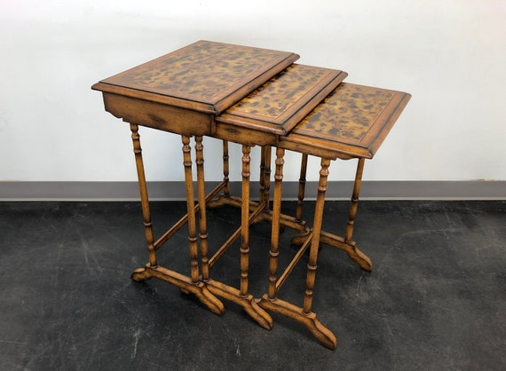 Maitland Smith Faux Bamboo Nesting Tables Set Of 3