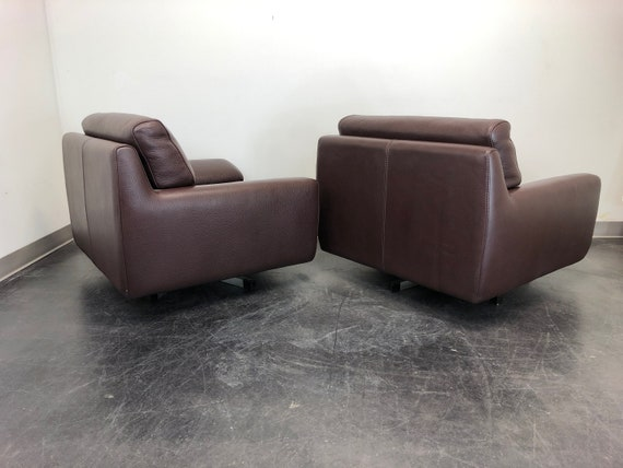 Fabulous Roche Bobois Modern Swivel Chairs In Chocolate Brown Leather Pair 1 Cjindustries Chair Design For Home Cjindustriesco