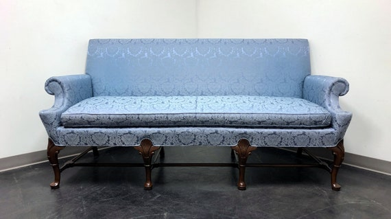 Marvelous Hickory Chair Queen Anne Sofa Settee In Blue Brocade Gmtry Best Dining Table And Chair Ideas Images Gmtryco