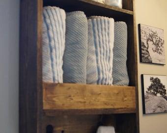 Bath Towel Shelf, Shelf, Bathroom Wood Shelf, Towel Rack, Towel Hook,  Bathroom Rustic Storage, Floating Shelf, Modern Bathroom Shelf