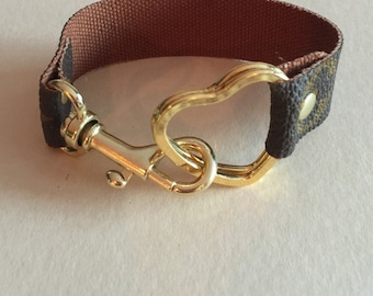Heart shaped split keyring or bracelet with swivel clip made with  authentic LV canvas