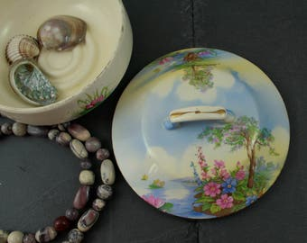 Trinket dish 1930's Thomas Lawrence  Falcon Ware English pottery ceramic pot with lid lilly pads and foxgloves dressing table tidy art decco