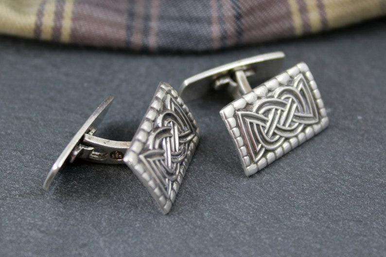 Celtic knot cufflinks Norwegian sterling silver signed David Andersen Norway vintage cuff links with Viking Oseberg knot design eternal knot