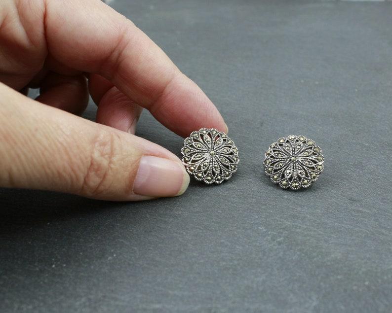 sterling mid century vintage flower jewellery clip on earrings Silver and marcasite earrings