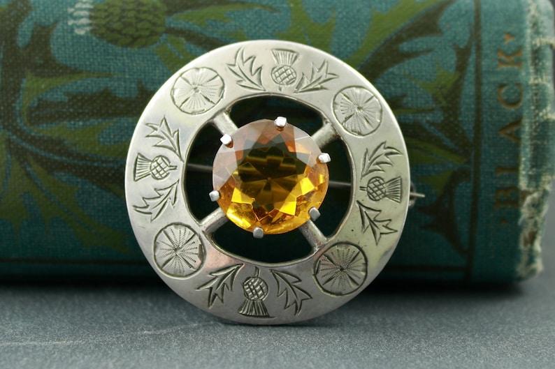 Scottish thistle brooch with citrine sterling silver hallmarked Glasgow Robert Allison 1950s mid century traditional plaid pin Scotland
