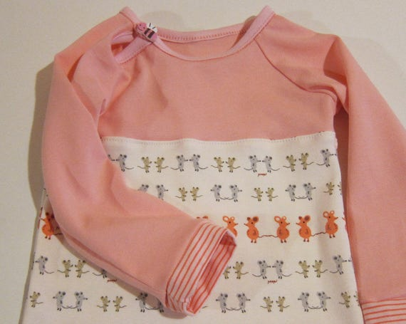 Sweet Mouse Baby shirt -Whimsical baby top - ORGANIC newborn long sleeve- organic infant -Baby button shirt. Size 6-9 mo. Made to order