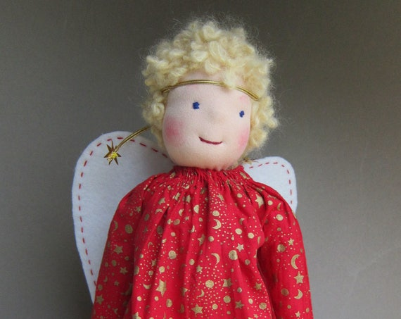 Guardian Angel doll,  Carita, Waldorf inspired, OOAK, Angel doll, Christmas 12.5""
