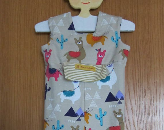 I love guanacos, llamas, alpacas,  Ecological Baby rompers pants - Dungarees - Jersey Dungarees made to order or  size 9-12 mo,