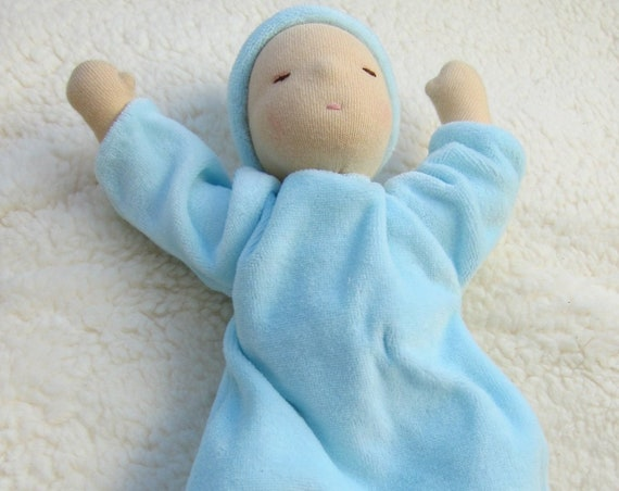 Sleeping doll Maya or Mathew, Baby doll in velveteen nighties with cap,Waldorf, personalizable