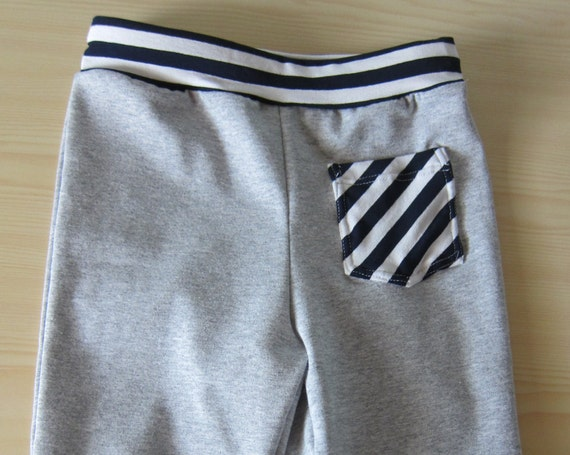 Baby bloomers or harem grey pants with pocket  with  stripes, Toddler Leggings, Handmade, Size 68-74