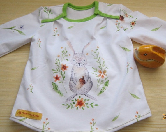 T-shirt long arm organic with romantic rabbit Size US 12 mo  80 Easter, Spring, Tunica