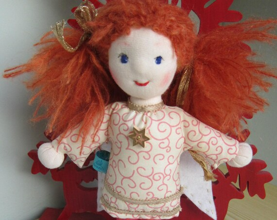 Guardian Angel, Poppy, with red hair, Waldorf style, 10.5 inches, Christmas, Baptism, baby shower, Stocking Stuffer, Made to order