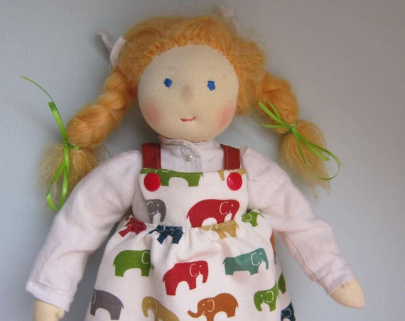 "Ecological soft doll Diana in Waldorf style 14"", movable limbs, OOAK"
