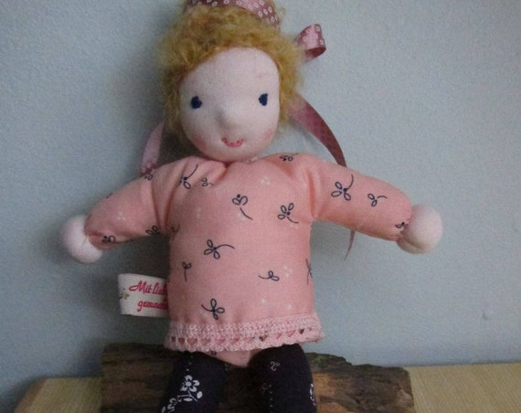 Small fabric pixie soft doll called Dawn, 9 1/2 inches, OOAK, Waldorf inspired
