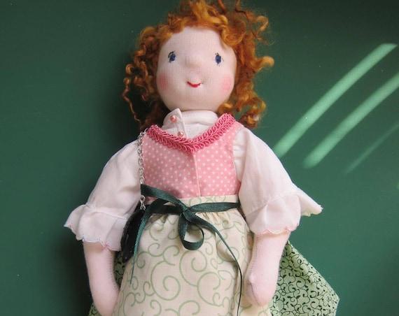 Bavarian doll, Oktoberfest doll, Vroni 13,6 inches, OOAK, Waldorf inspired Traditional doll, German doll