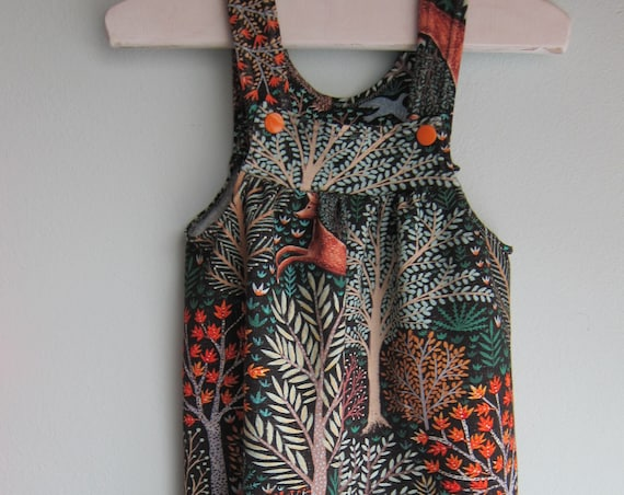 "Forest animals rompers in size 6 mo, ecological sweat, ""Les animaux de la fôret"" fabric for Baby rompers"