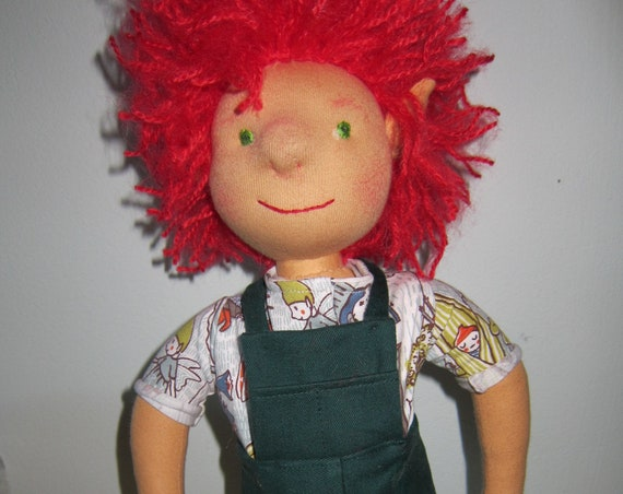 Alan the gardener doll,  Original Waldorf style, 16.75 inches, boy's doll, red headed doll, artist's doll, collector's
