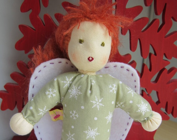 Guardian Angel's Doll, soft fabric doll Lucia, Waldorf style, handsewn, Angel, Handmade Doll, Get-well doll, Waldorf
