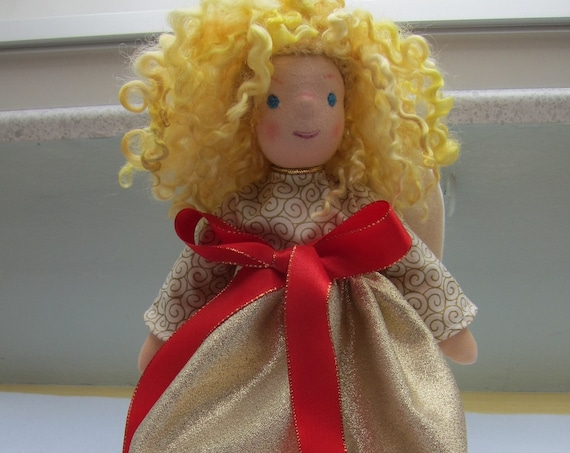 """Guardian Angel doll,  Agnetha, OOAK, Angel, collectors doll, collectible art doll, Christmas 12.5"""""""
