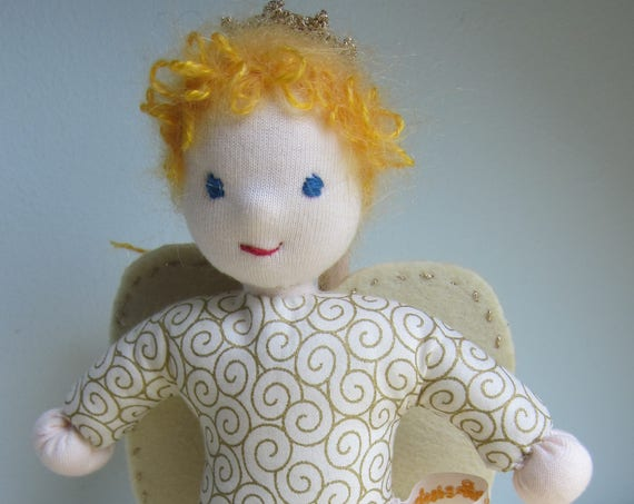 Guardian Angel's Doll, soft fabric doll Gabriella, Waldorf style, handsewn, Angel, Handmade Doll, Get-well doll, Waldorf