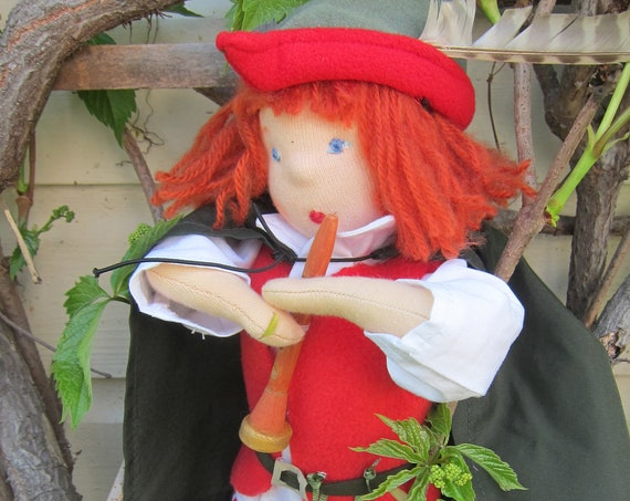 Soft doll, Pied Piper from Hamelin Doll Jonas (16 inches)  OOAK, collectors doll, collectible art doll, Flute player