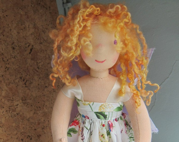 Fairy doll, Fairytale doll Aubrey 12 in Waldorf inspired  lilac organza wings flowered dress, blond sheep's Locks