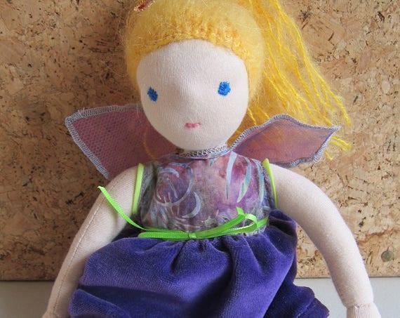 Fairy doll, Fairytale doll Aurelia Waldorf inspired organza wings lilac dress, blond hair