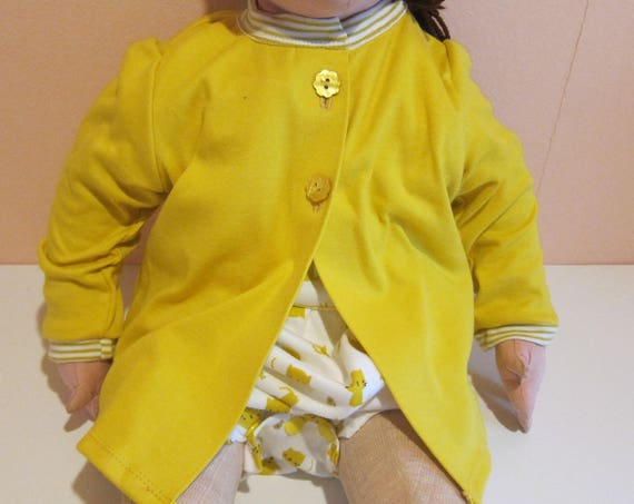 Baby custard yellow sweater in organic cotton jersey  in size 74cm / 9-12 mo