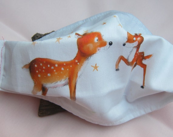 Winter children's mouth  nose masks holiday motive two deers ideal for school children, not a medical product