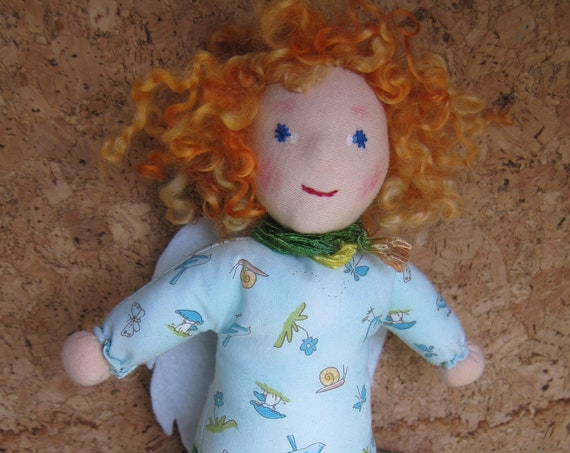 Guardian Angel, Angel's Doll Carina  in Waldorf style with curly sheep's locks and felt wings.