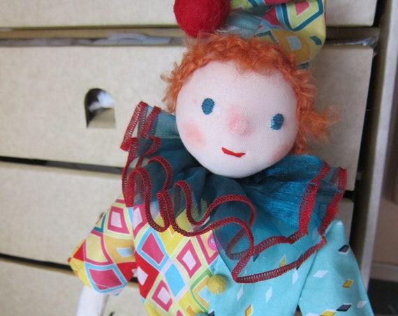 Clown doll, Columbine, handmade Harlequin, OOAK,13 inches, waldorf inspired,