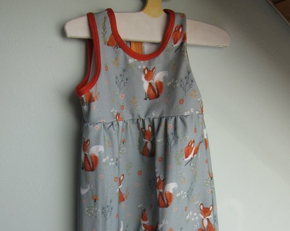 Ecological baby rompers in forest foxes, in grey and orange size 80, 12 mo
