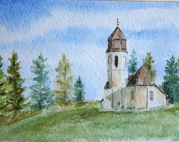 Aquarell painting, Chapel  near forest a special energy location 6.5 x 12.5 inches
