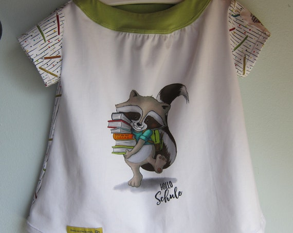 Ecological toddler's Jersey dress racoon school begin design size 104 4-5 years