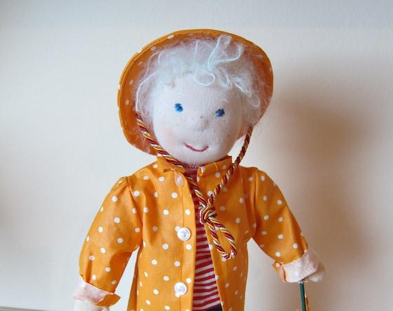 Rainman fiber doll, Robin 11,8 inches, OOAK, Waldorf inspired