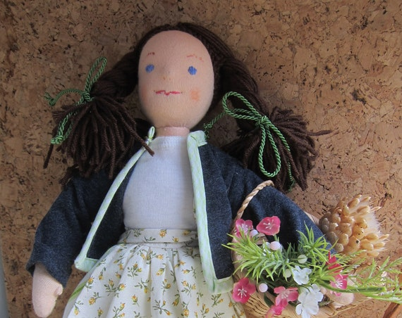 Soft Fabric Doll, Herbs collecting nature loving doll Greta with brown braids, basket, Waldorf inspired, Soft doll OOAK,