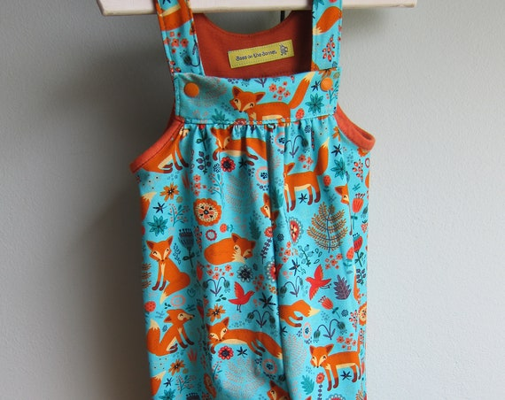 Fox Autumn rompers in size 6-9 mo, Jumpsuit, Autumn rompers in size 6-9 mo (68-74) turquoise/terracotta jersey, ecological fabric for Babies