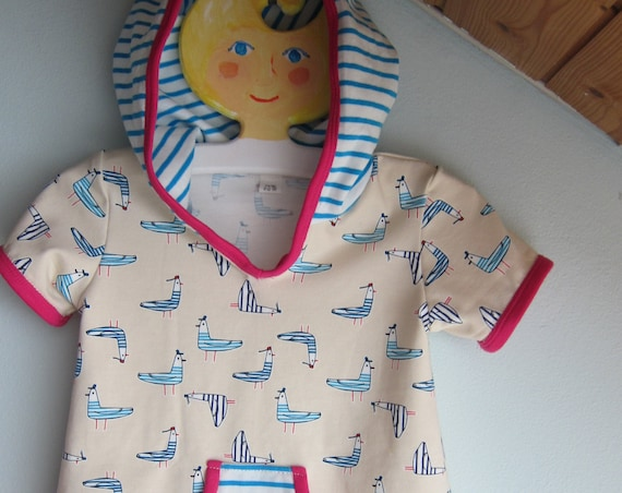 Baby  Sweatshirt with Hood, Hoodie with Bio Jersey, See gulls blue, pink / cream