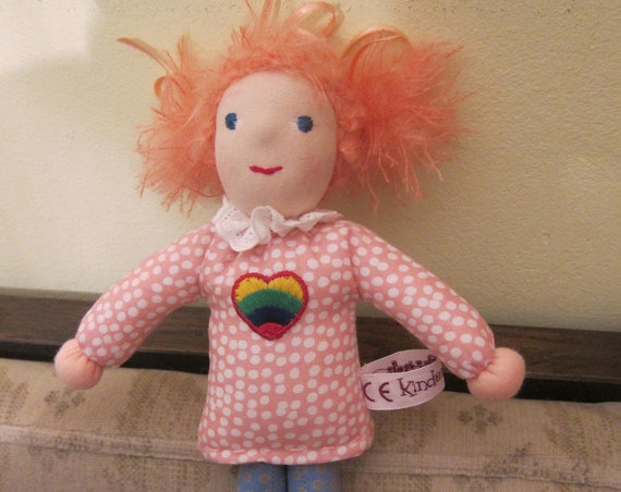 Pixie Angel doll Meghan Fabric doll with a heart and pink hair and wings, pocket doll  Waldorf inspired