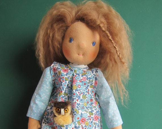 Fabric doll, Waldorf inspired Tara doll with real lambskin wig, pinafore and sky blue dress. Waldorf style doll 15""