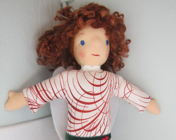 Guardian Angel Addiena Angel-Mood doll, felt wings, handmade, Christmas, baptism, baby shower, Get-well doll, Waldorf 10 in