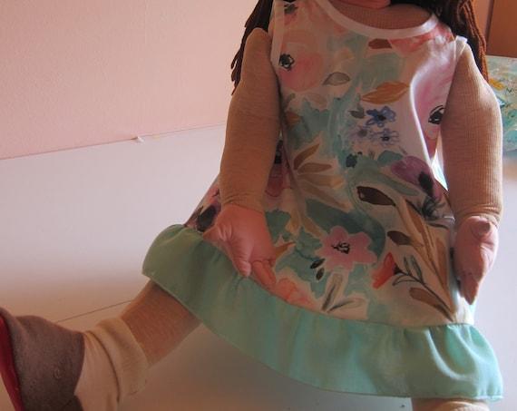 Sweet Apron dress, Wattercolor Flowers pinafore 18-24 mo, Summer dress,