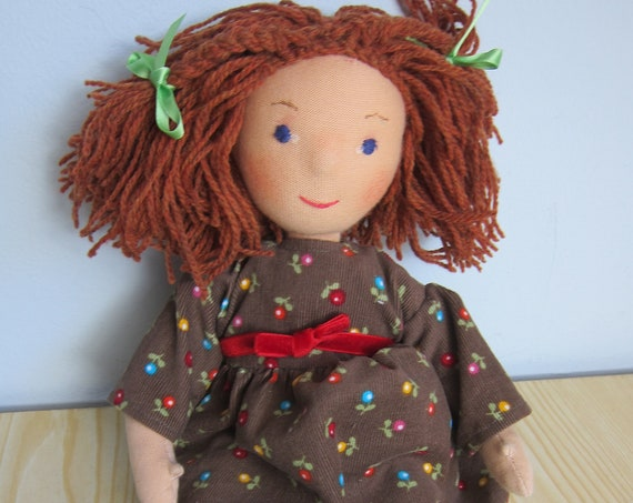 Handmade soft doll Maddy with mini flowered cord dress, red velvet ribbon  brown hair in  13 inches, Waldorf inspired, cuddly play doll