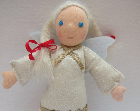 Angel doll Elsbeth Guardian Angel, with white Mohair braids as hair, white gold dress, felt wings, Waldorf inspired,